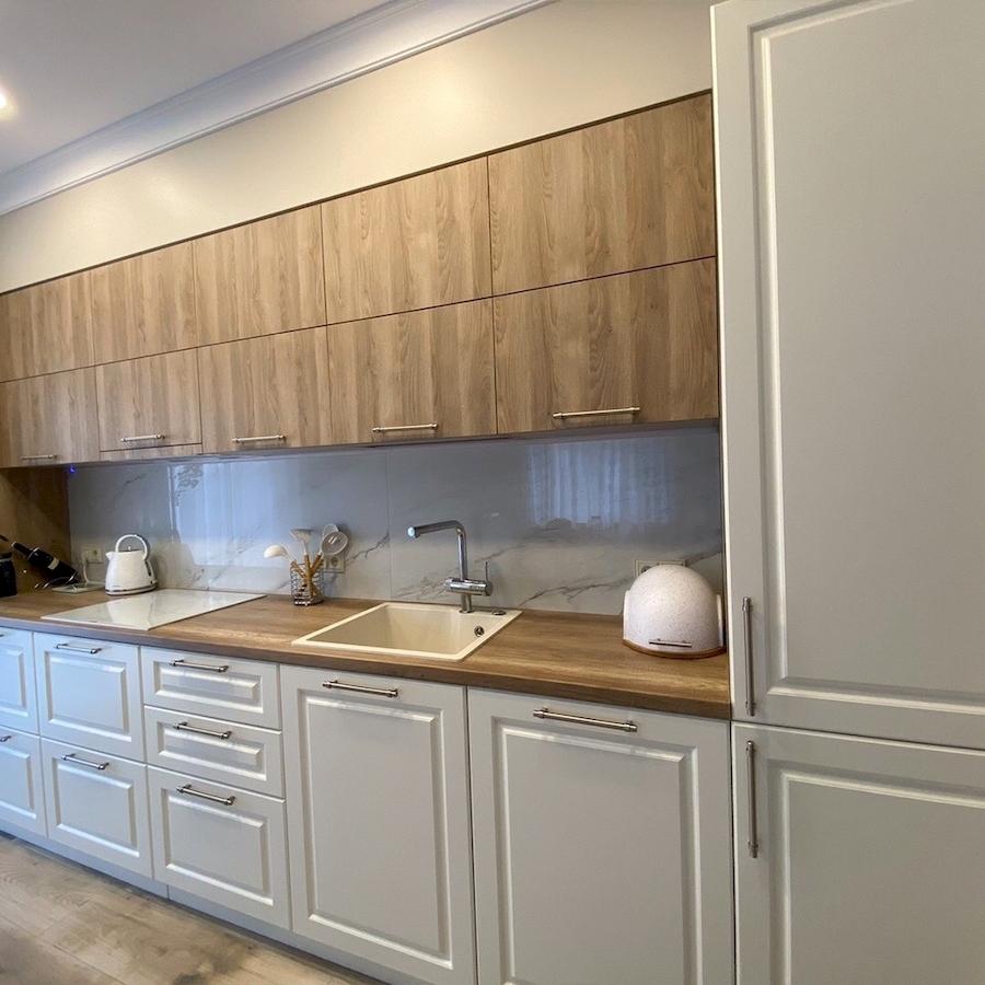 Белый кухонный гарнитур-Кухня МДФ в ПВХ «Модель 588»-фото2
