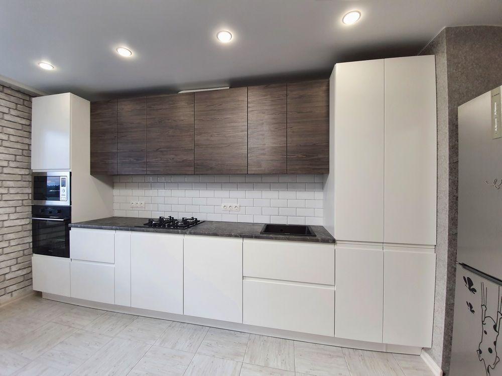 Белый кухонный гарнитур-Кухня МДФ в эмали «Модель 541»-фото1