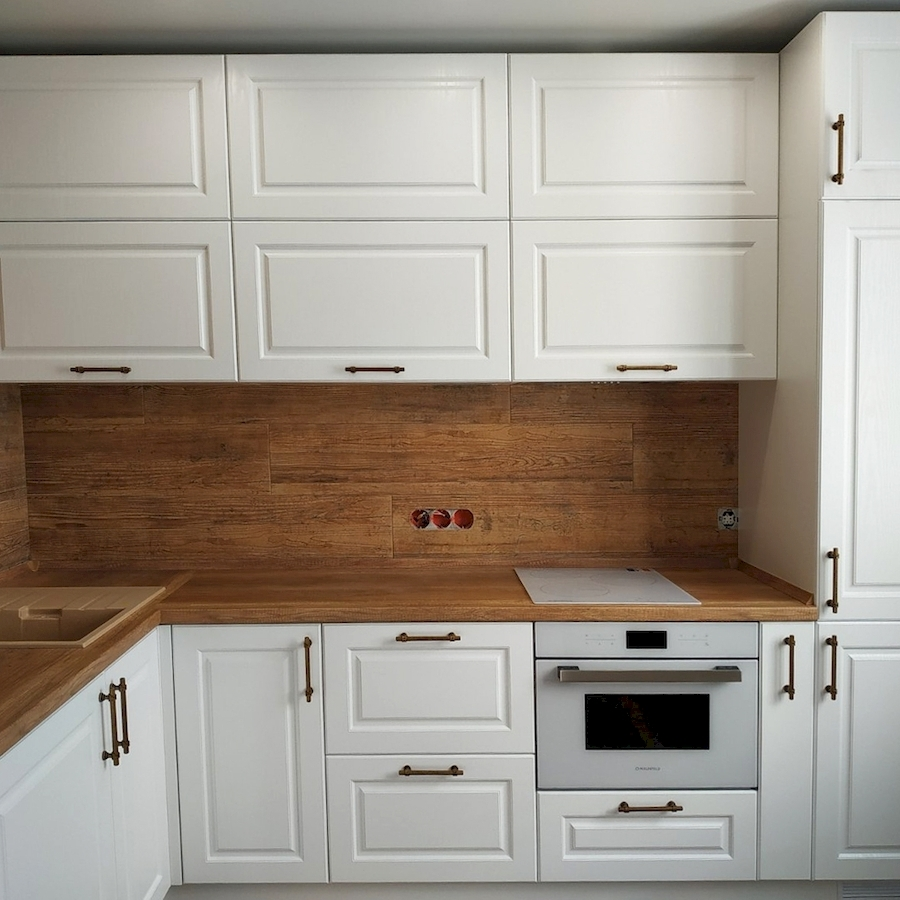 Белый кухонный гарнитур-Кухня МДФ в ПВХ «Модель 597»-фото2