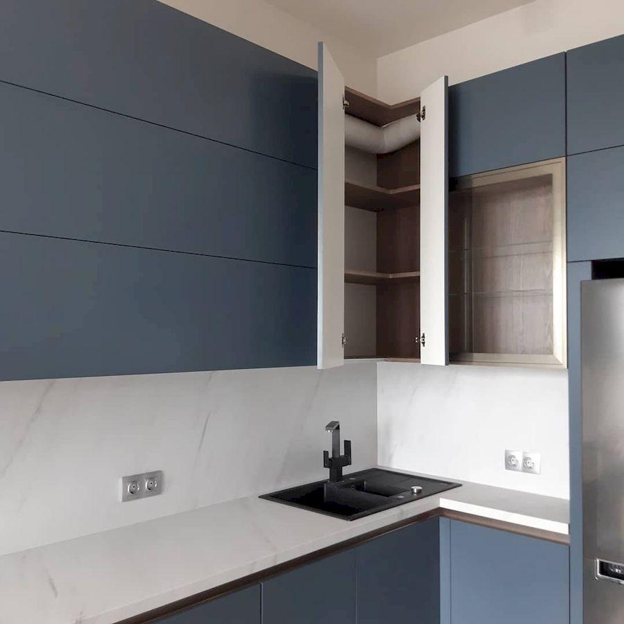 Белый кухонный гарнитур-Кухня МДФ в эмали «Модель 647»-фото4