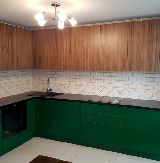 Купить зеленую кухню-Кухня МДФ в эмали «Модель 599»-фото5